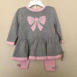 Little Me Peplum Sweater & Pants Set with Bows NWT